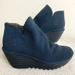 Fly London Blue Suede Yip Bootie